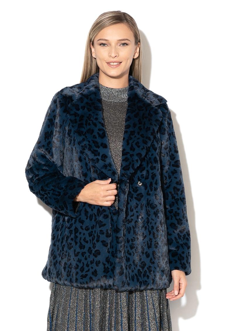 Haina de blana sintetica cu imprimeu leopard Zenaida