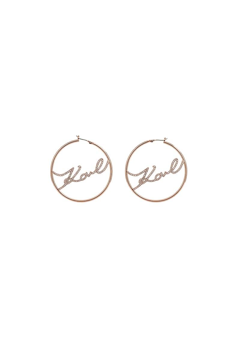 Cercei rotunzi placati cu aur rose de 12K – decorati cu cristale Swarovski® Karl Lagerfeld