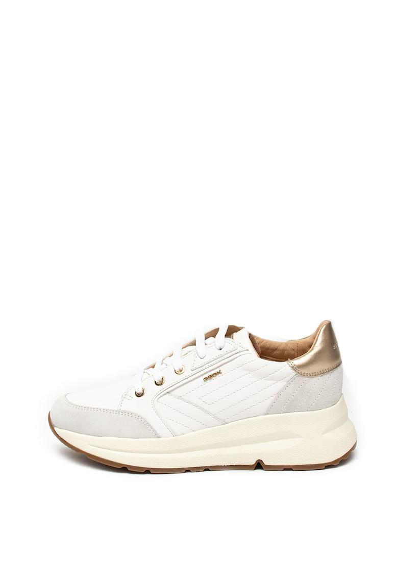 Pantofi sport de piele ecologica si piele intoarsa - cu cusaturi decorative Backsie