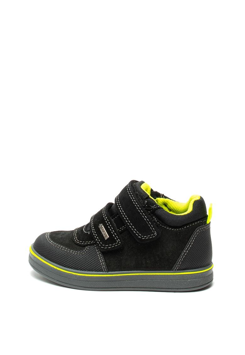 Pantofi de piele intoarsa cu velcro si insertii de piele ecologica Primigi