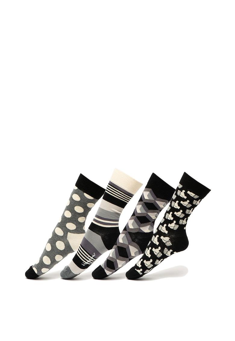 Sosete lungi unisex – cu imprimeu – 4 perechi Happy Socks