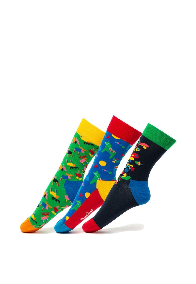 Set de sosete lungi unisex – cu imprimeu – 3 perechi Happy Socks
