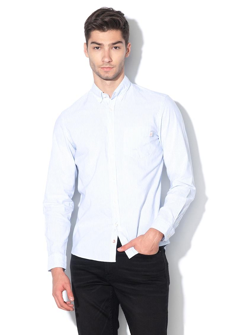 Camasa slim fit din amestec de in - cu model in dungi imagine fashiondays.ro