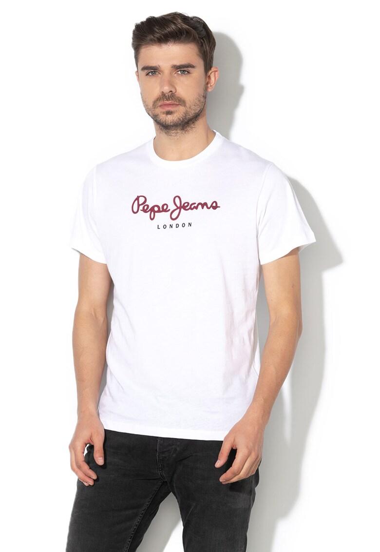 Tricou cu decolteu la baza gatului si imprimeu logo Eggo Bărbați imagine