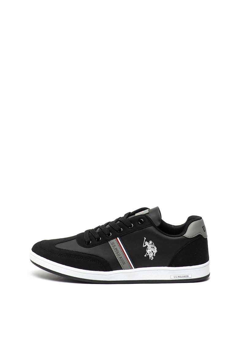 Pantofi sport de piele ecologica - cu logo brodat Kares