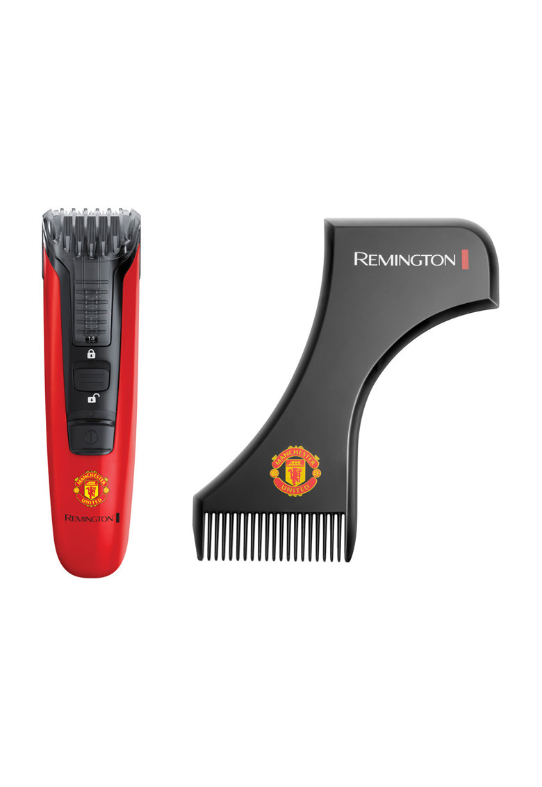 Remington Aparat de tuns pentru barba/mustata   Manchester United Beard Boss Styler - Lame CaptureTrim - Lame lavabile - Indicator LED - Rosu/ Negru