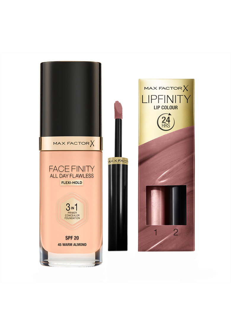 Set : Fond de ten Facefinity All Day Flawless 3-in-1 045 Warm Almond SPF20 30 ml - Ruj rezistent la transfer Lipfinity 016 Glowing