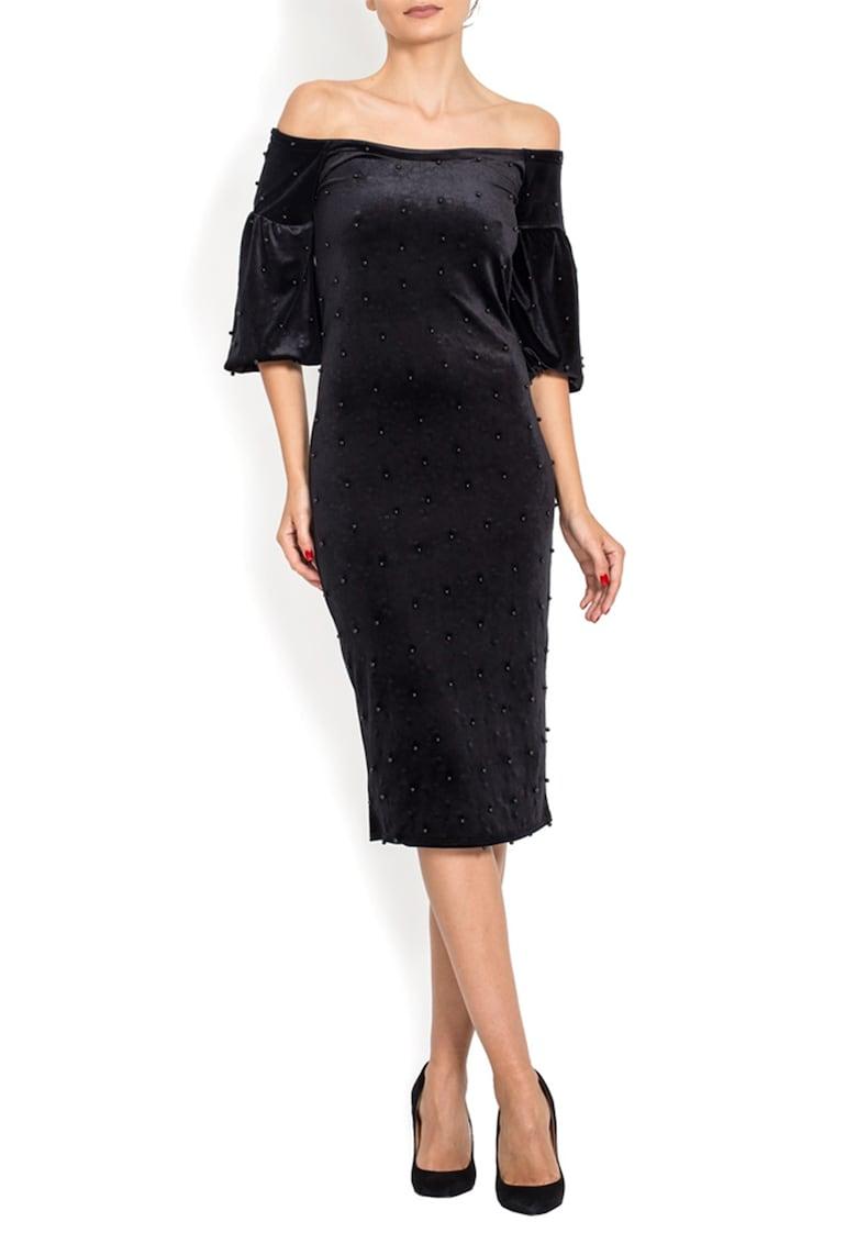 Rochie de catifea - cu decolteu pe umar - decorata cu margele