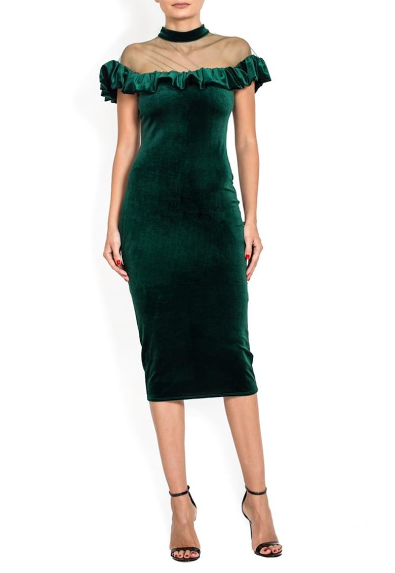 Rochie midi de catifea - cu insertie transparenta