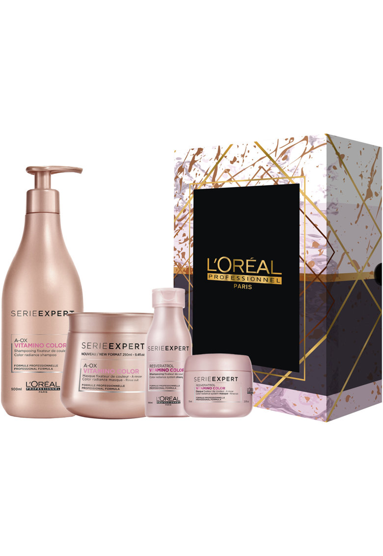 LOreal Professionnel Set  Serie Expert Vitamino Color pentru par colorat sau decolorat: Sampon A-OX 500 ml - Masca A-OX 250 ml - Sampon Resveratrol format calatorie 100 ml - Masca Resveratrol format calatorie 75 ml