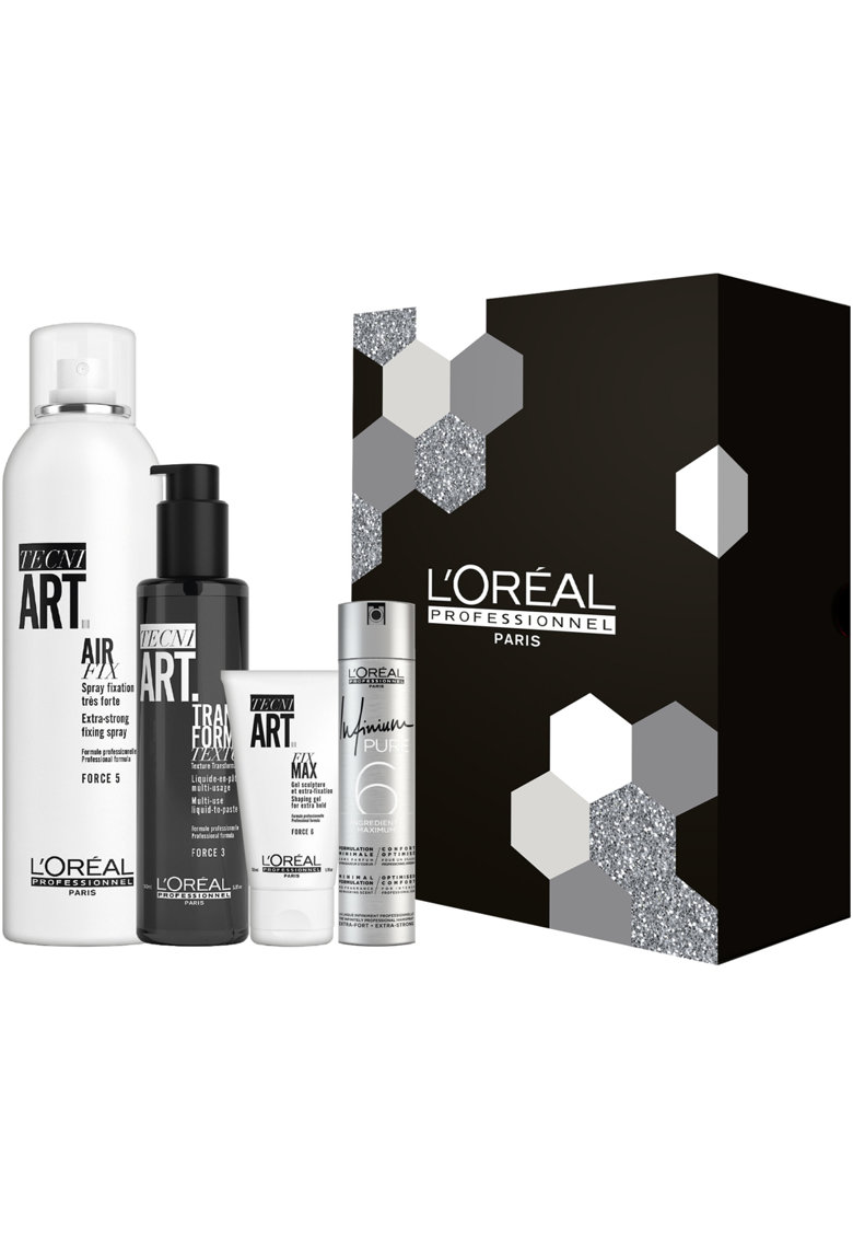 LOreal Professionnel Set de styling  Tecni Art: Fixativ Air Fix Spray 250 ml - Lotiune Transformer Texture 150 ml - Gel Fix Max 50 ml - Fixativ Infinium Pure 75 ml