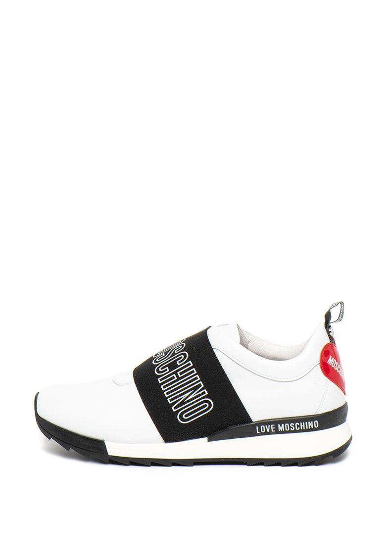 Pantofi sport din piele ecologica cu imprimeu logo