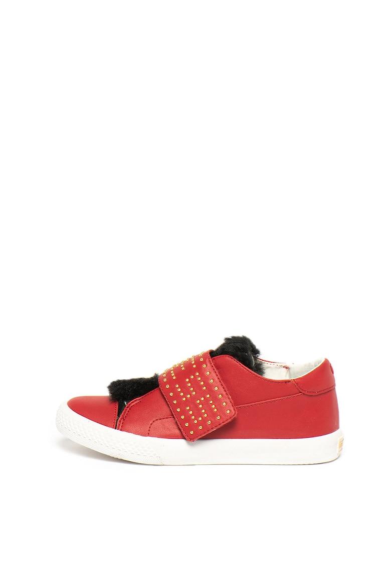 Pantofi sport de piele ecologica cu partea superioara de blana sintetica