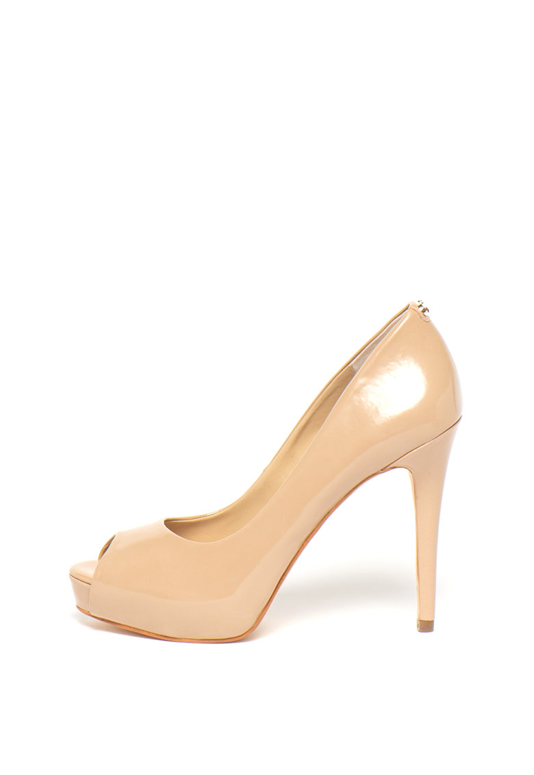 Pantofi de piele ecologica - cu varf decupat