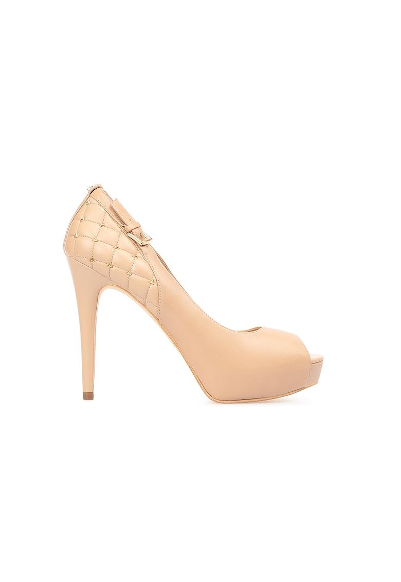 Pantofi de piele cu varf decupat