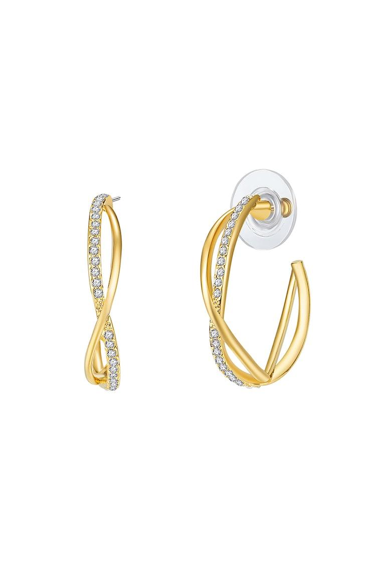 Cercei rotunzi placati cu aur si decorati cu cristale