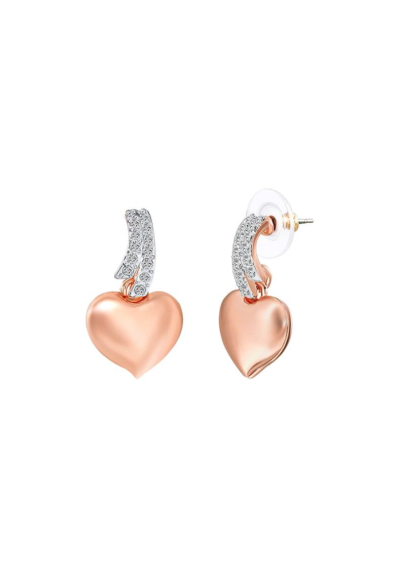 Cercei in forma de inima placati cu aur si decorati cu cristale Swarovski® imagine fashiondays.ro