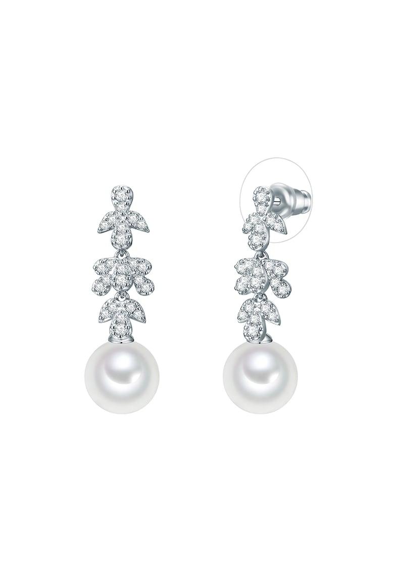 Cercei drop decorati cu perle organice si zirconia imagine promotie