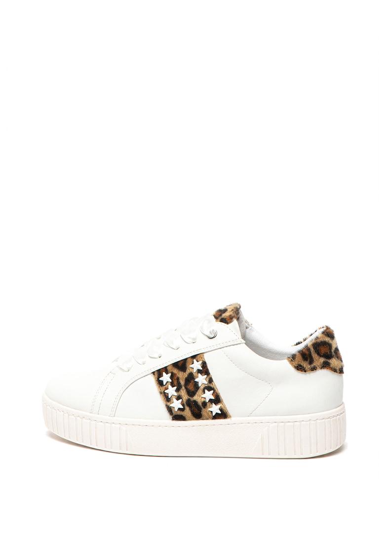 Pantofi sport de piele ecologica - cu insertii animal print din material textil