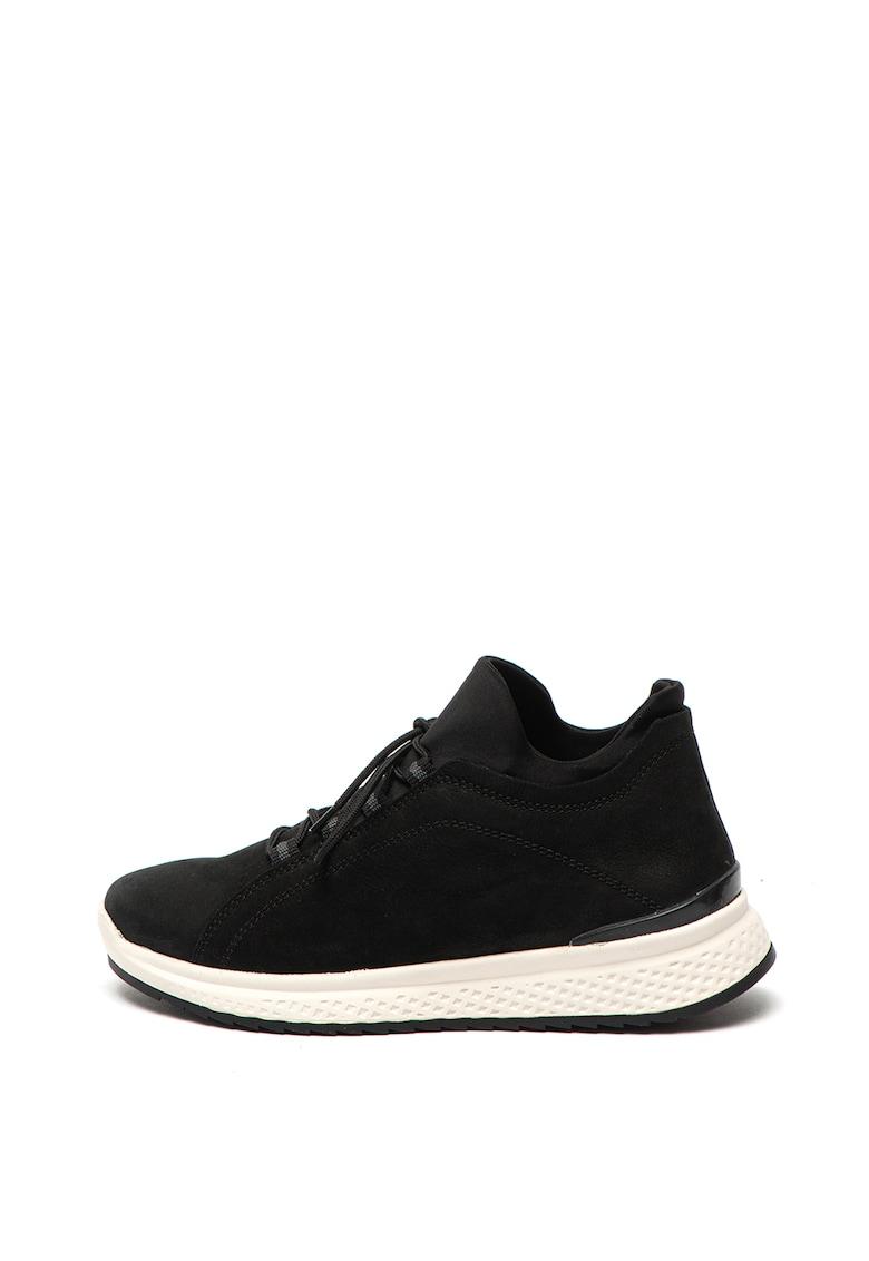 Pantofi sport slip-on de piele nabuc - cu garnituri de material textil