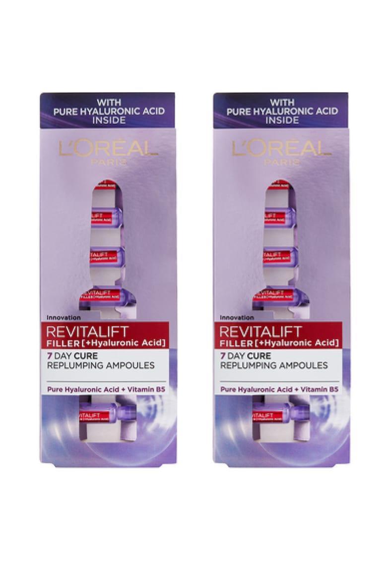 LOreal Paris Pachet promo : 2 x Fiole anti-age Revitalift Filler cu Acid Hialuronic - 7x1.3 ml