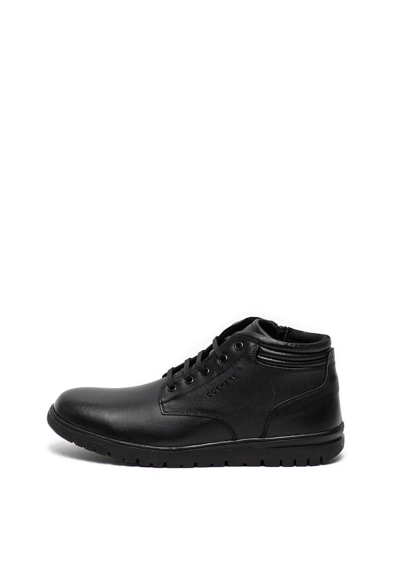 Pantofi casual de piele - cu inchidere cu fermoar si siret