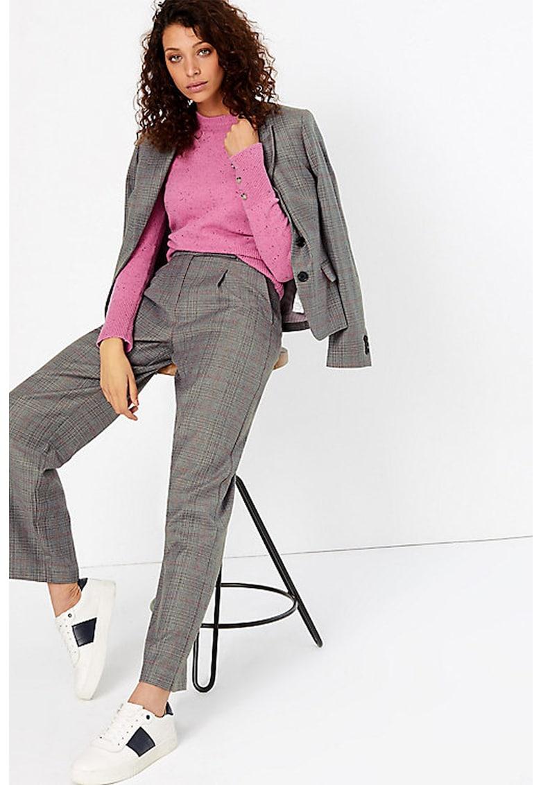Pantaloni drepti cu pliuri frontale