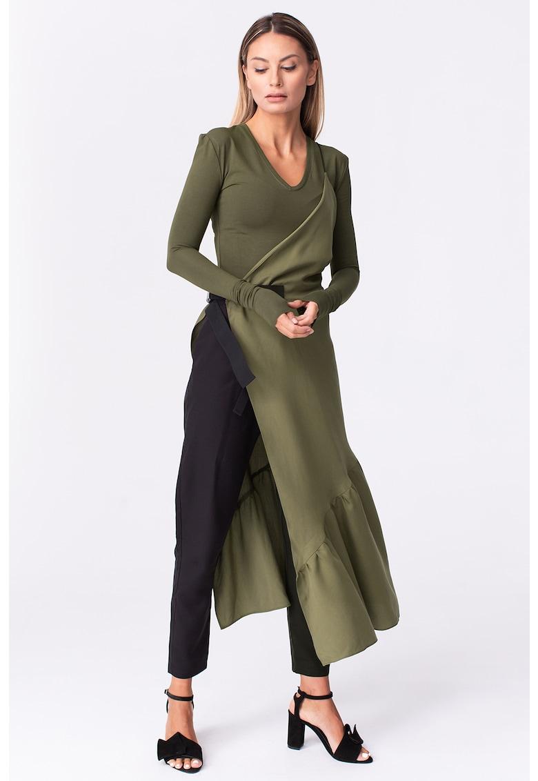 Bluza din jerseu cu decolteu in V