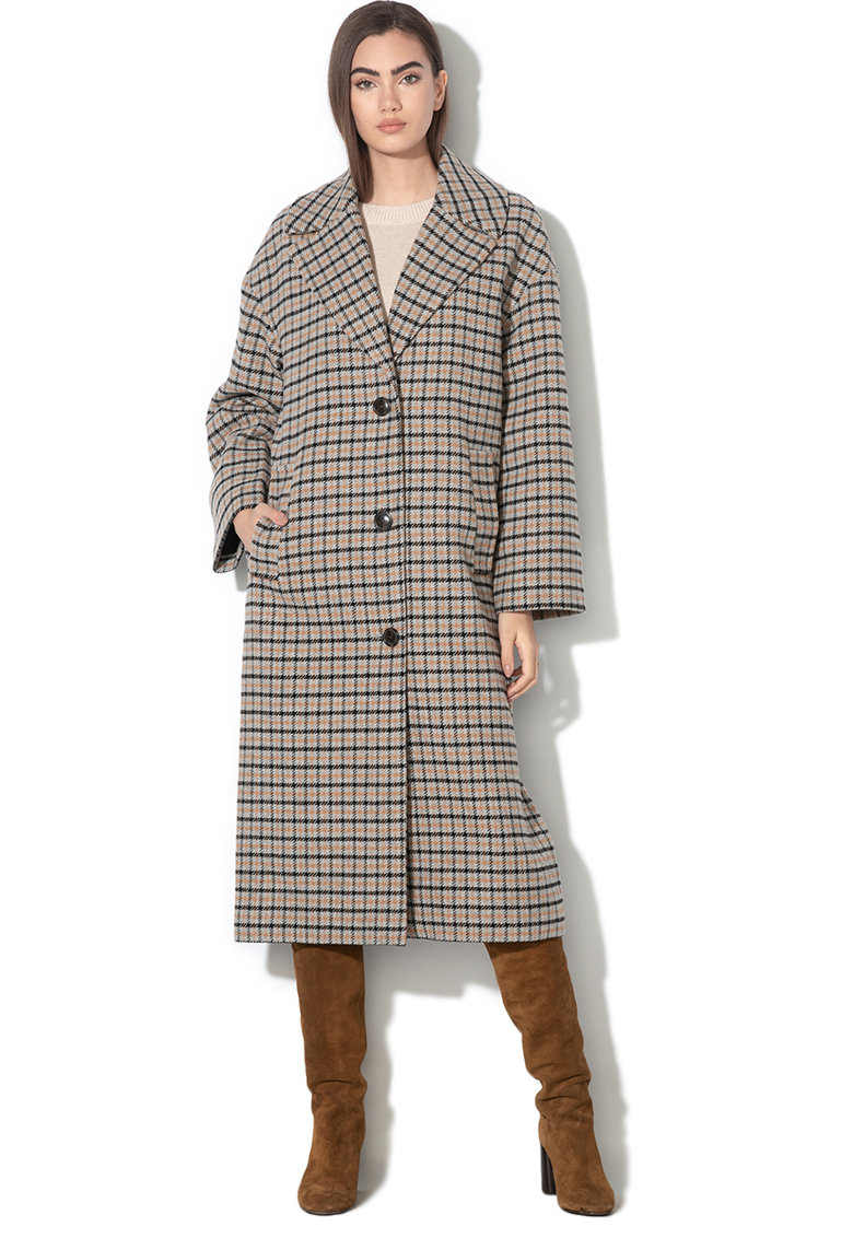 Palton din amestec de lana - in carouri