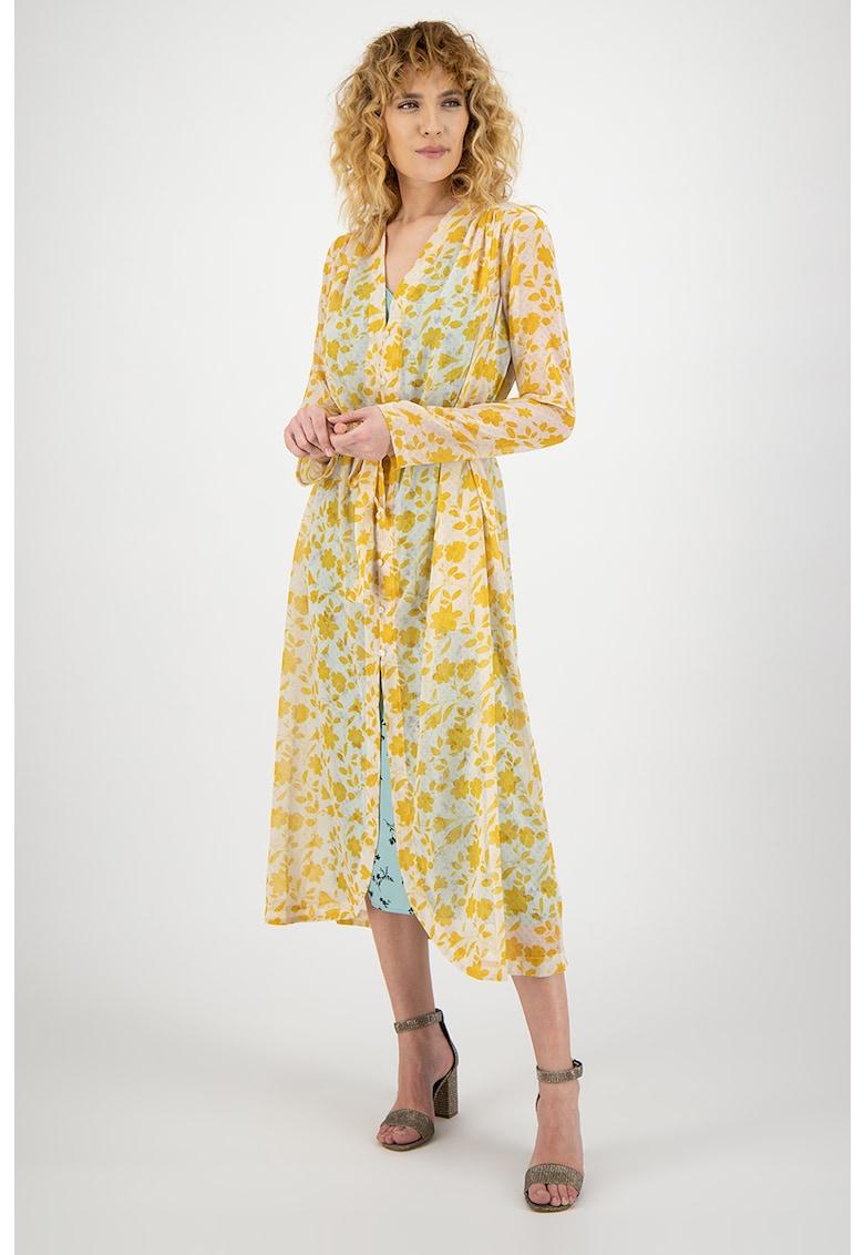 Rochie transparenta cu rochie interioara tip furou cu imprimeu floral Bongor