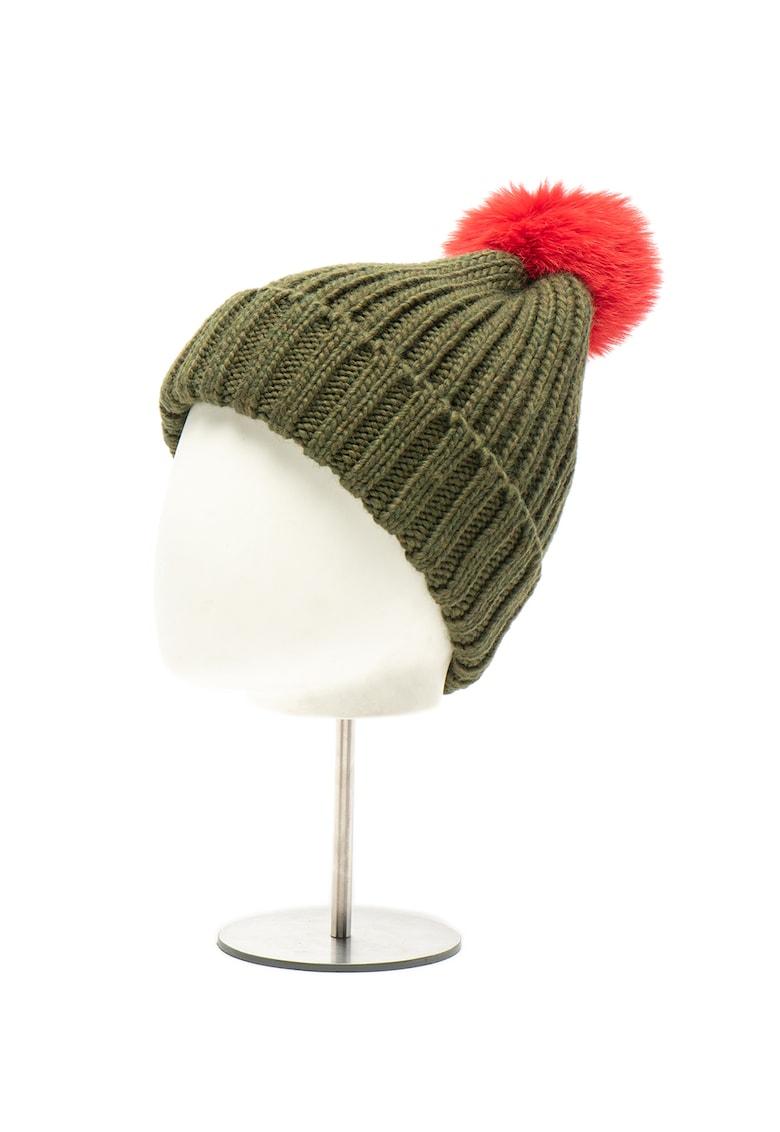 Caciula tricotata - din amestec de lana - cu ciucure Cuffia