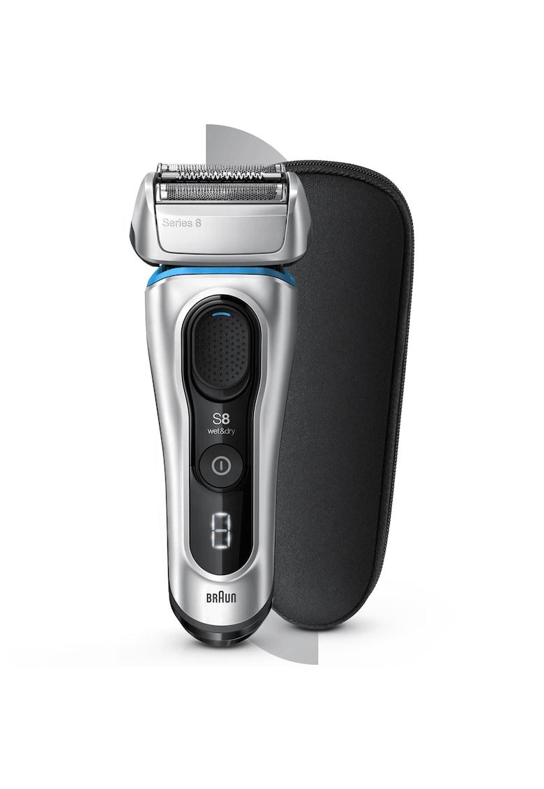Braun Aparat de ras  Series 8 8330s - 4 elemente de ras - Tehnologie Sonica - Wet&Dry - 60 de minute autonomie - Trusa de calatorie - Argintiu Premium