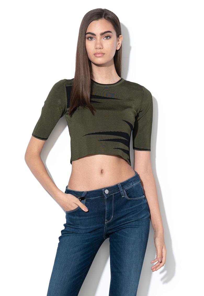 Bluza crop cu imprimeu grafic imagine