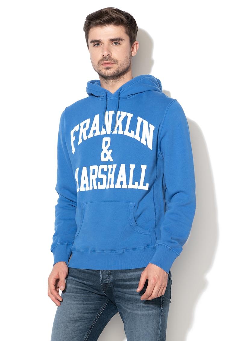 Hanorac cu imprimeu si buzunar kangaroo Franklin & Marshall fashiondays.ro
