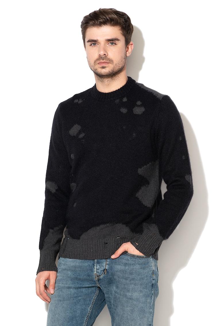 Pulover din amestec de lana si mohair cu detalii cu aspect deteriorat Slour