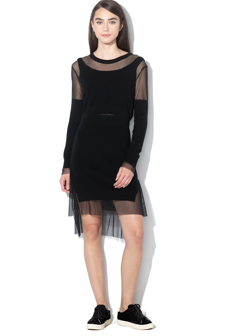Rochie tricotata cu segmente transparente Gautierr