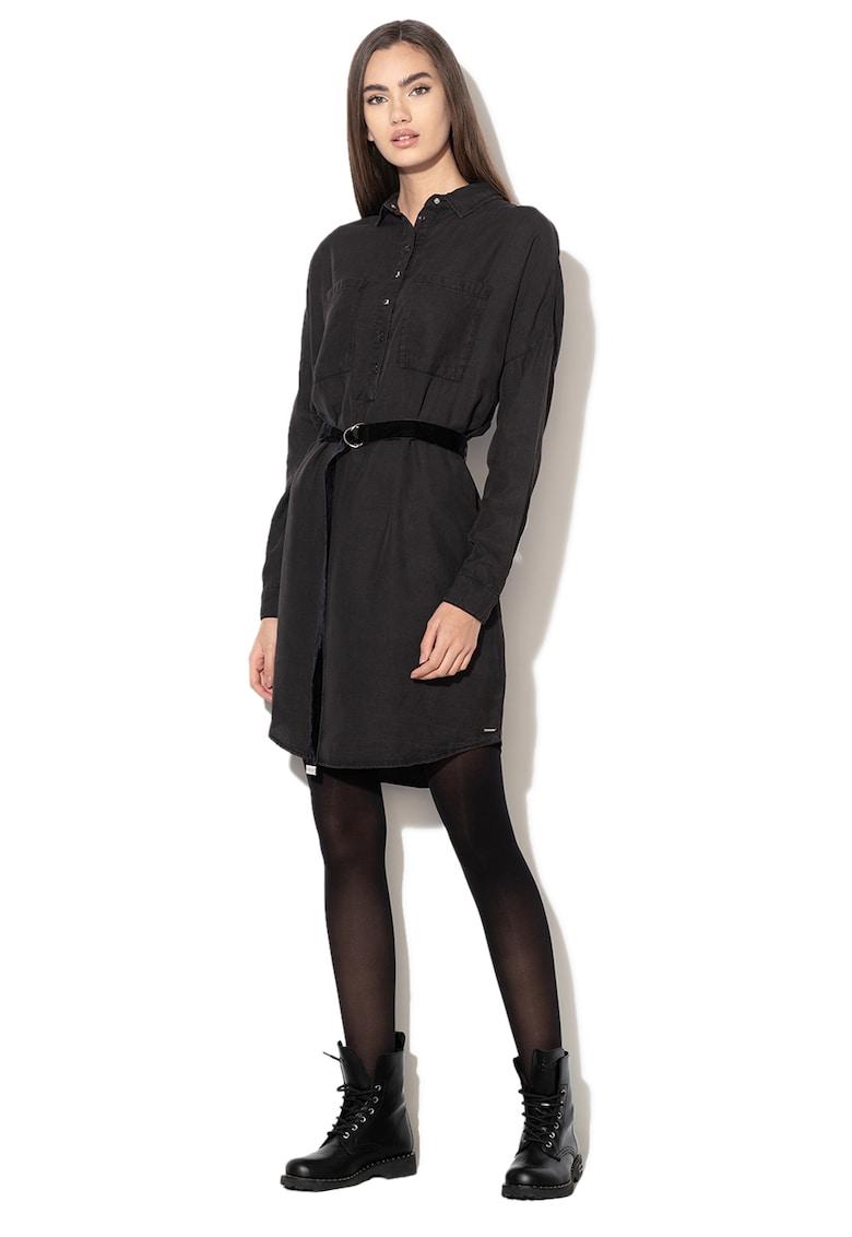 Rochie mini tip camasa din lyocell - cu o curea