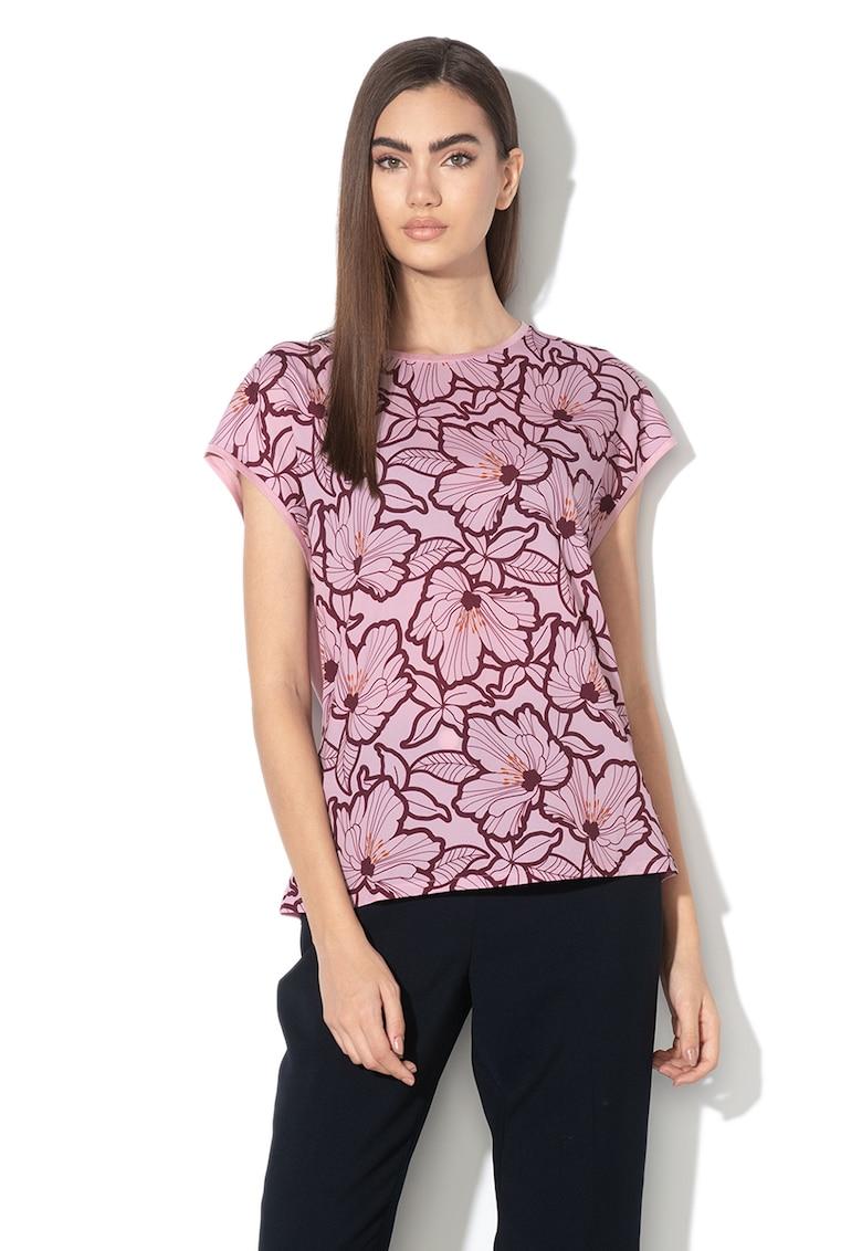 Tricou cu imprimeu floral si model 2in1 Cordine imagine