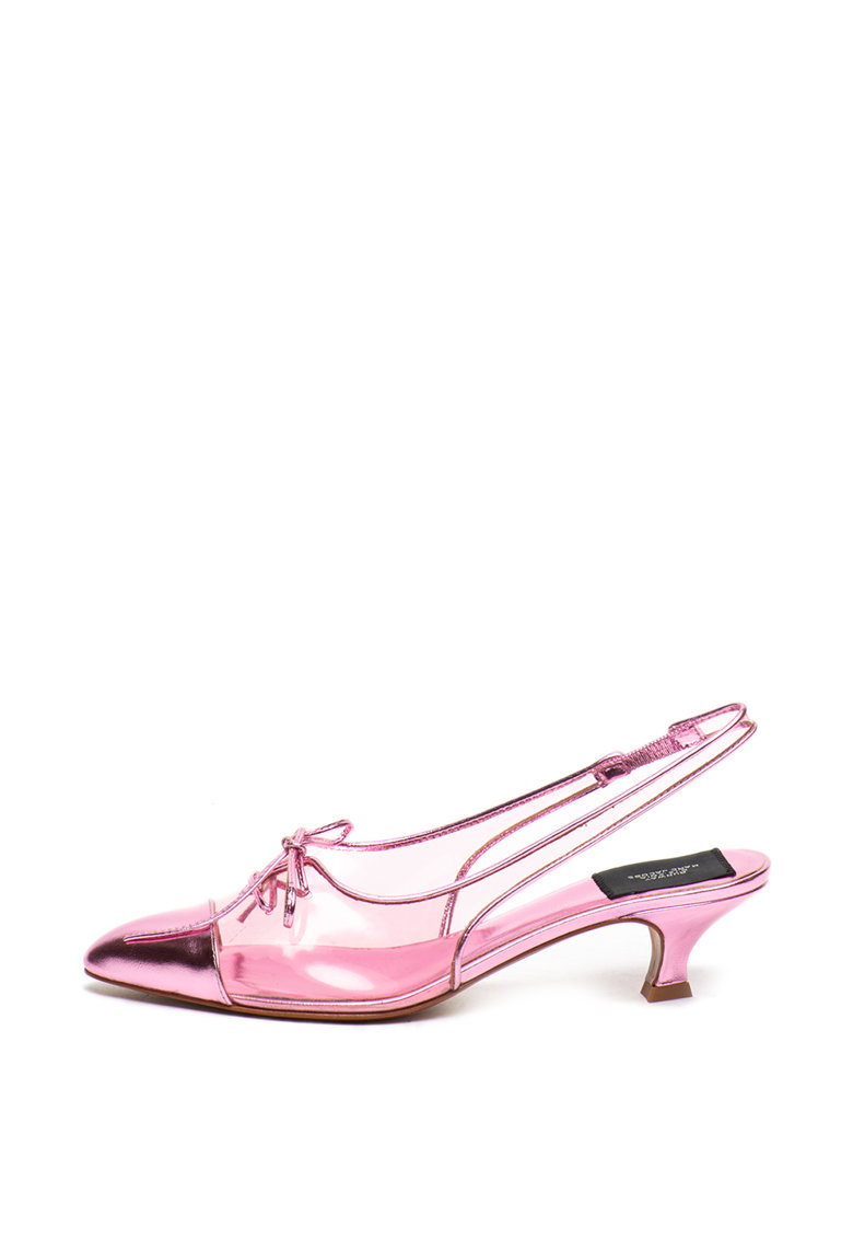 Pantofi slingback cu toc kitten si segmente transparente