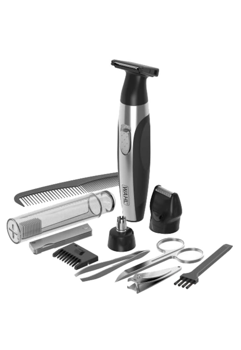 Kit de ingrijire - Travel Kit - Latime de taiere 2.3 cm - Lame otel Hygenic - Baterie Litiu - Kit accesorii - Argintiu