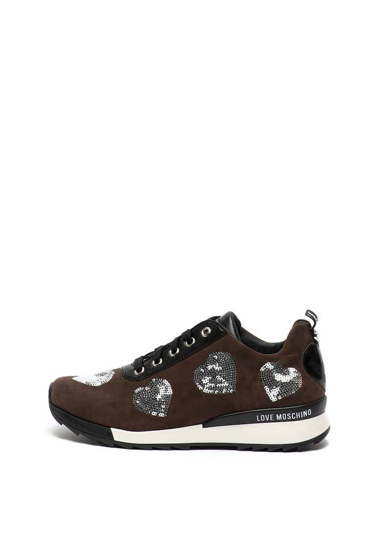 Pantofi sport de piele ecologica - cu aplicatii in forma de inima cu paiete