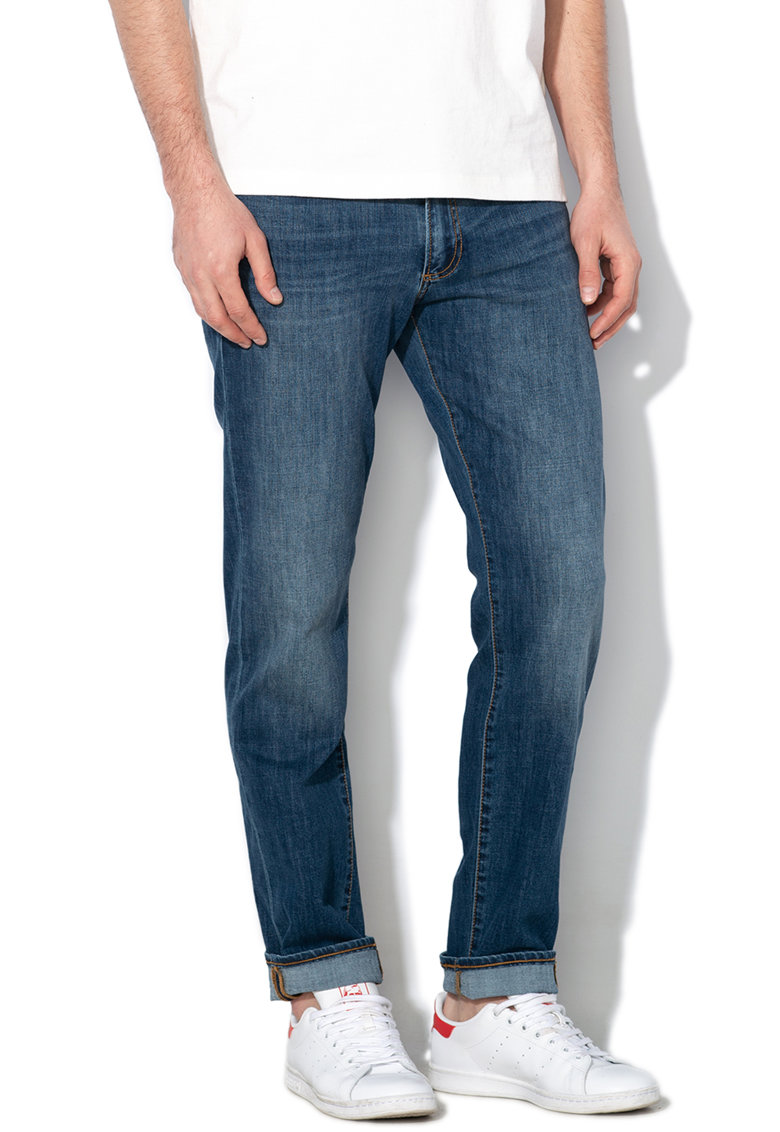 Blugi slim fit cu aspect decolorat 000495666