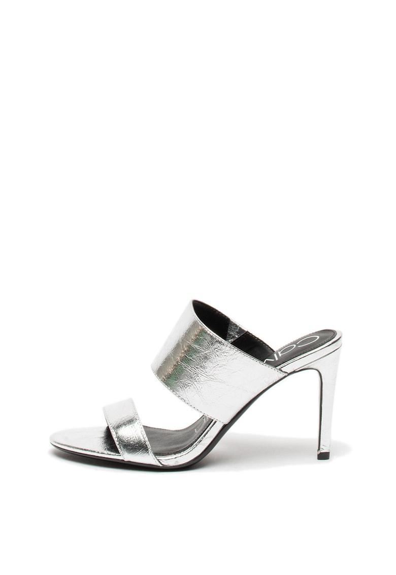 Calvin Klein Papuci de piele cu aspect sifonat Rema Thrill