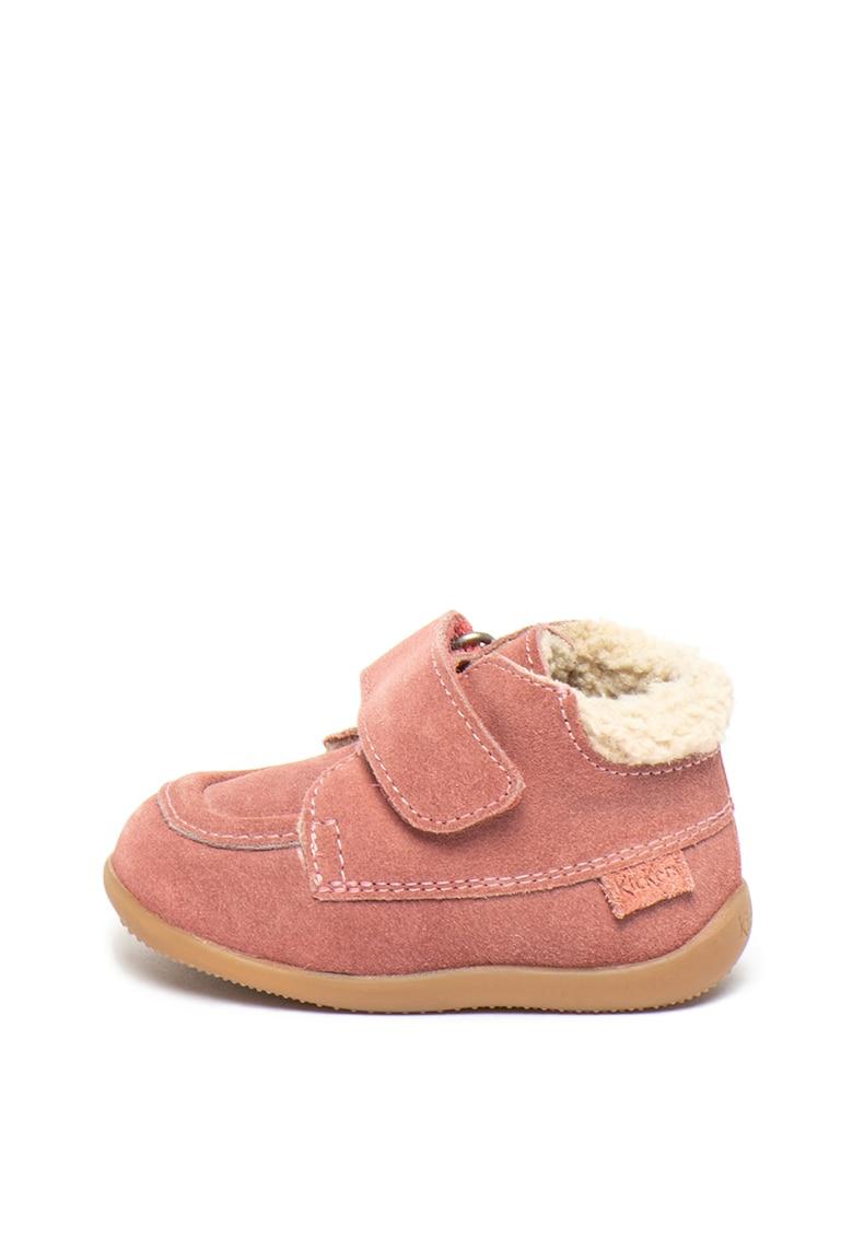 Pantofi de piele intoarsa cu captuseala de blana shearling sintetica Bamba
