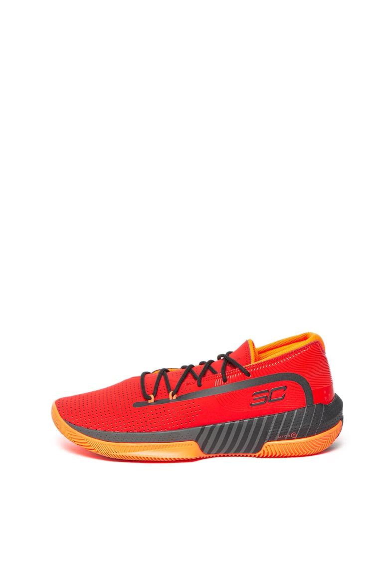 Pantofi de piele peliculizata cu aspect perforat - pentru baschet 3ZERO III imagine