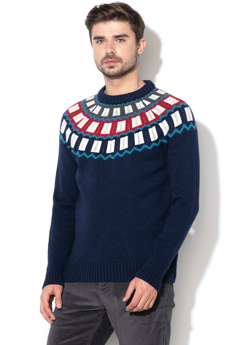 Pulover din amestec de lana - cu model geometric