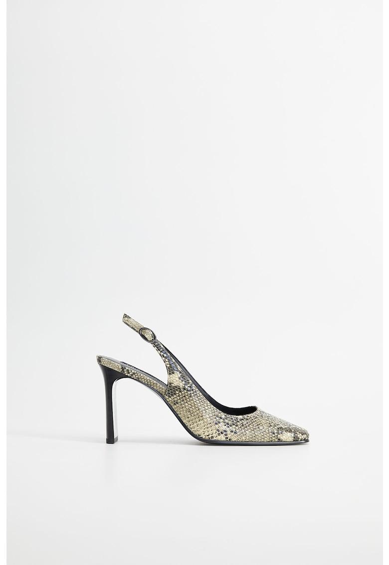 Pantofi slingback cu model piele de sarpe Glade
