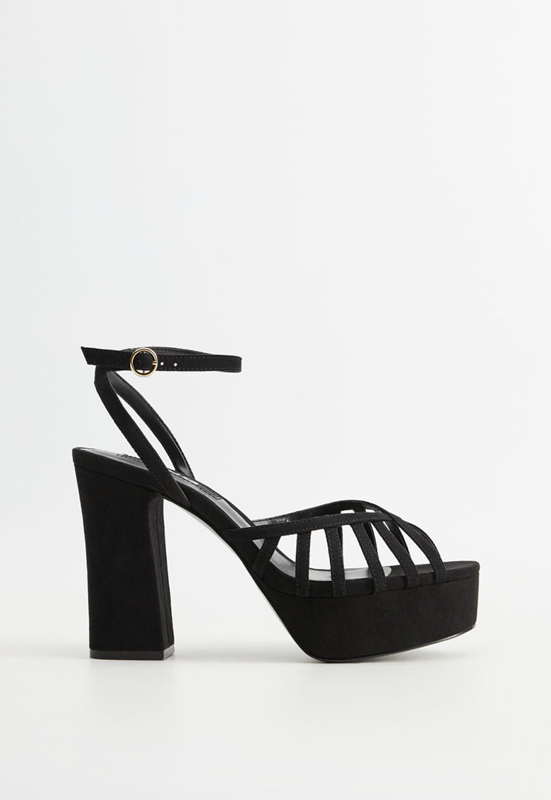 Sandale de piele intoarsa ecologica - cu toc masiv Queen