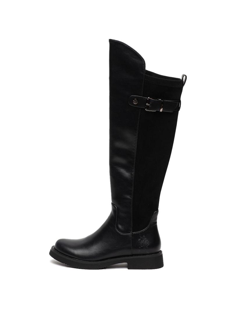 US Polo Assn Cizme de piele ecologica - lungi pana la genunchi - cu garnitura catifelata Sarah
