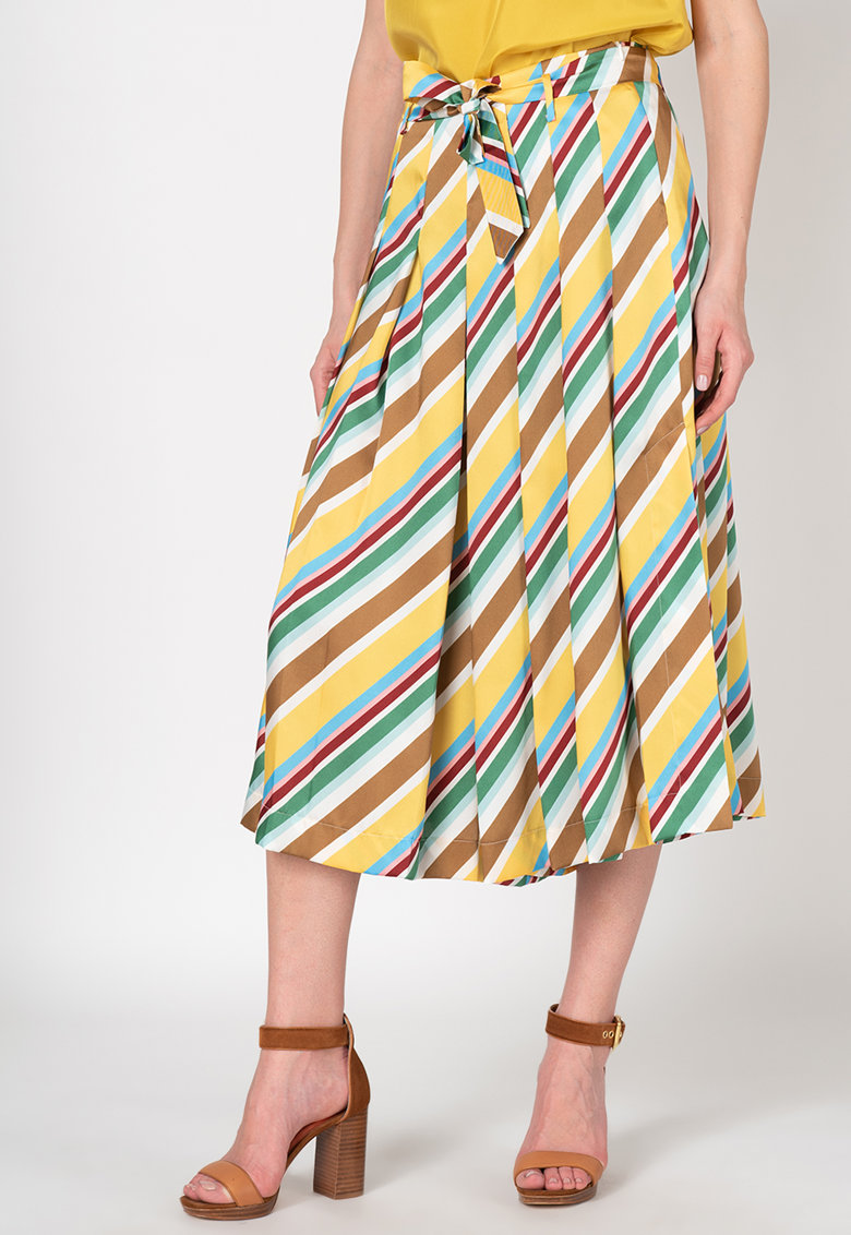 Pantaloni culottes cu pliuri si model in dungi Aidin